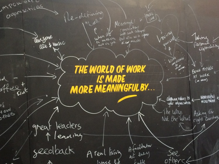 Ideas for meaningful work on flip chart